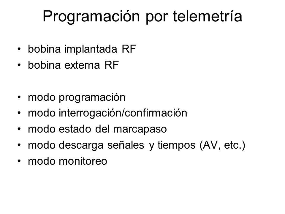 Programación por telemetría bobina implantada RF bobina externa RF modo programación modo interrogación/confirmación modo estado del marcapaso modo descarga señales y tiempos (AV, etc.) modo monitoreo