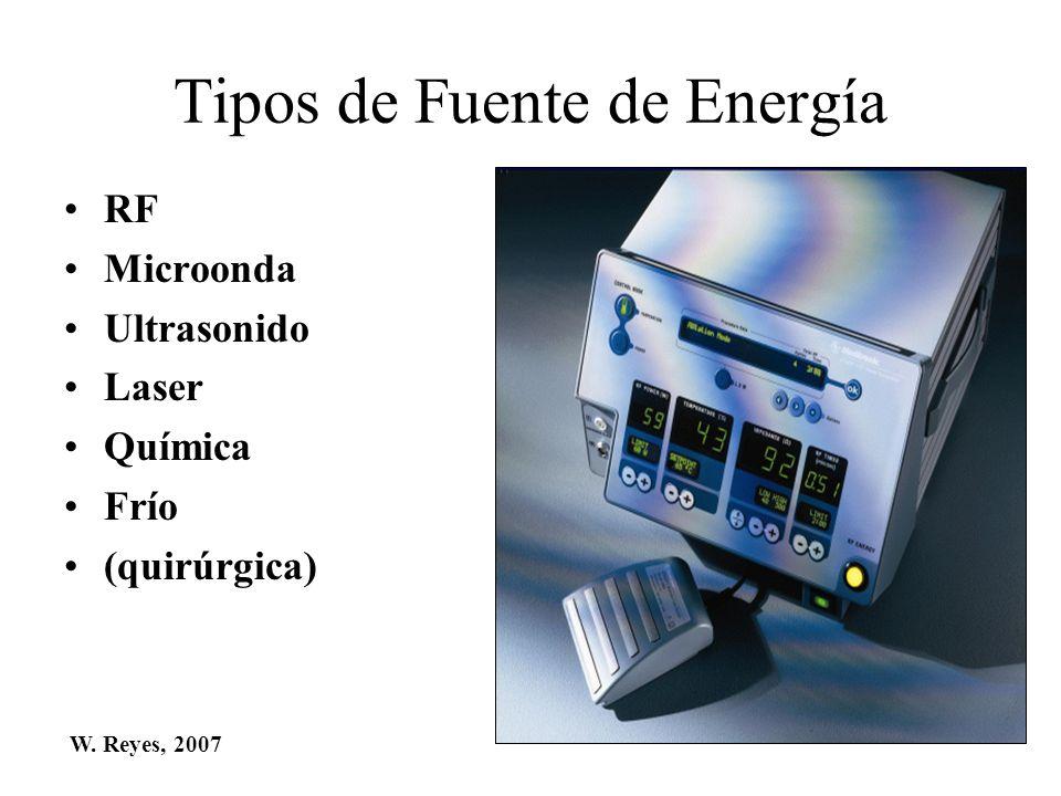 Tipos de Fuente de Energía RF Microonda Ultrasonido Laser Química Frío (quirúrgica) W. Reyes, 2007
