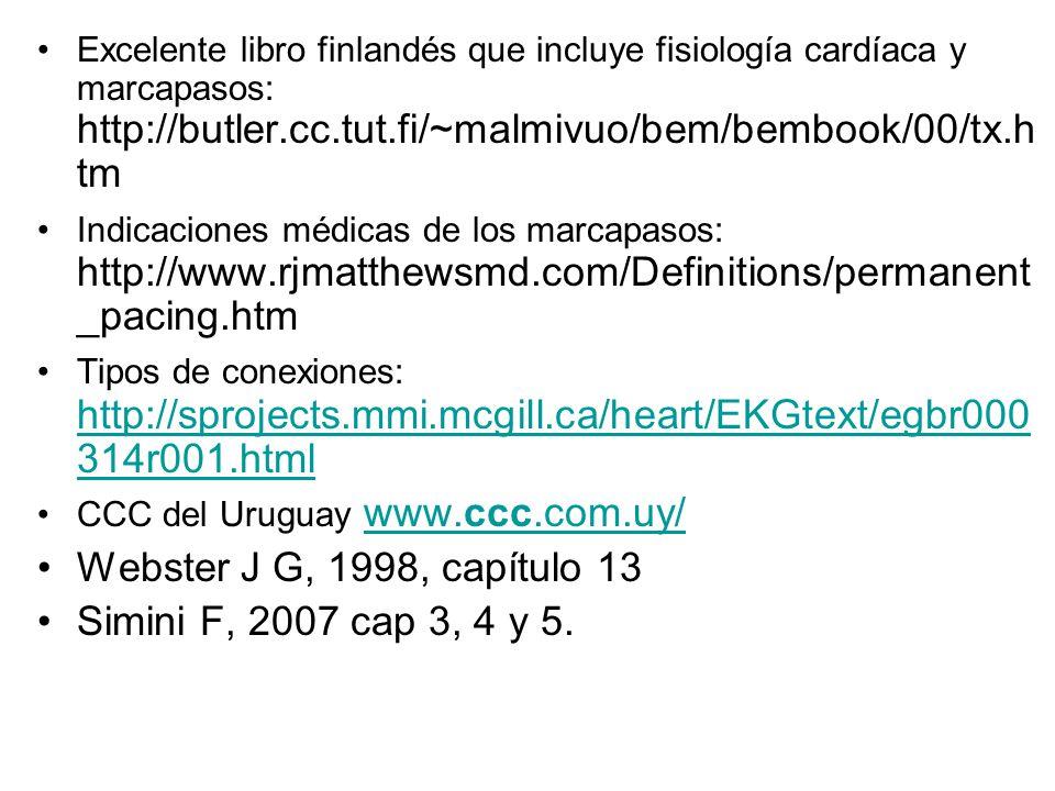 Excelente libro finlandés que incluye fisiología cardíaca y marcapasos: http://butler.cc.tut.fi/~malmivuo/bem/bembook/00/tx.h tm Indicaciones médicas de los marcapasos: http://www.rjmatthewsmd.com/Definitions/permanent _pacing.htm Tipos de conexiones: http://sprojects.mmi.mcgill.ca/heart/EKGtext/egbr000 314r001.html http://sprojects.mmi.mcgill.ca/heart/EKGtext/egbr000 314r001.html CCC del Uruguay www.ccc.com.uy/www.ccc.com.uy/ Webster J G, 1998, capítulo 13 Simini F, 2007 cap 3, 4 y 5.