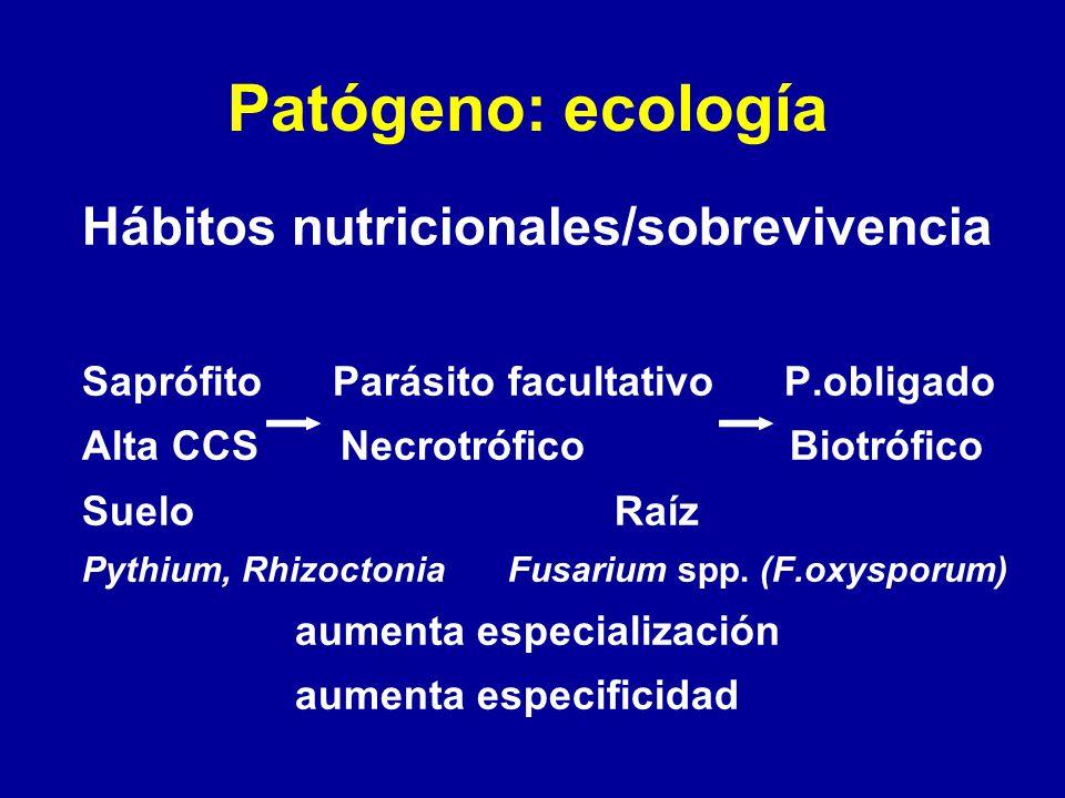 Patógeno: ecología Hábitos nutricionales/sobrevivencia Saprófito Parásito facultativo P.obligado Alta CCS Necrotrófico Biotrófico SueloRaíz Pythium, R