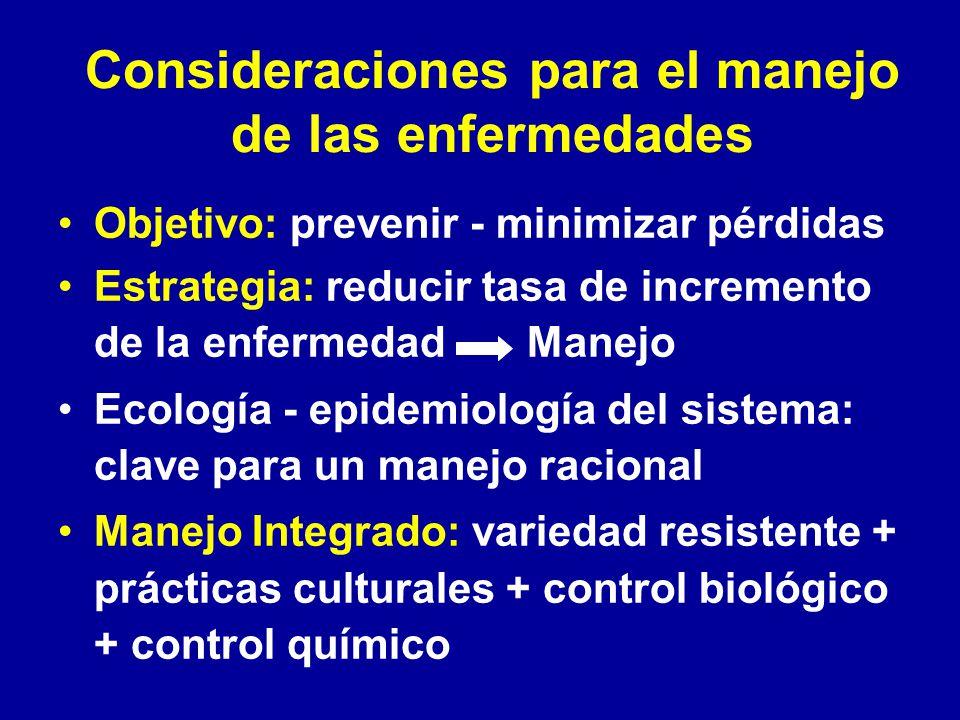 Consideraciones para el manejo de las enfermedades Objetivo: prevenir - minimizar pérdidas Estrategia: reducir tasa de incremento de la enfermedad Man