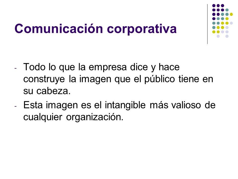 Comunicación corporativa - Todo lo que la empresa dice y hace construye la imagen que el público tiene en su cabeza. - Esta imagen es el intangible má