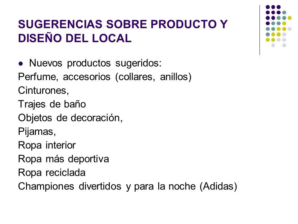 SUGERENCIAS SOBRE PRODUCTO Y DISEÑO DEL LOCAL Nuevos productos sugeridos: Perfume, accesorios (collares, anillos) Cinturones, Trajes de baño Objetos d
