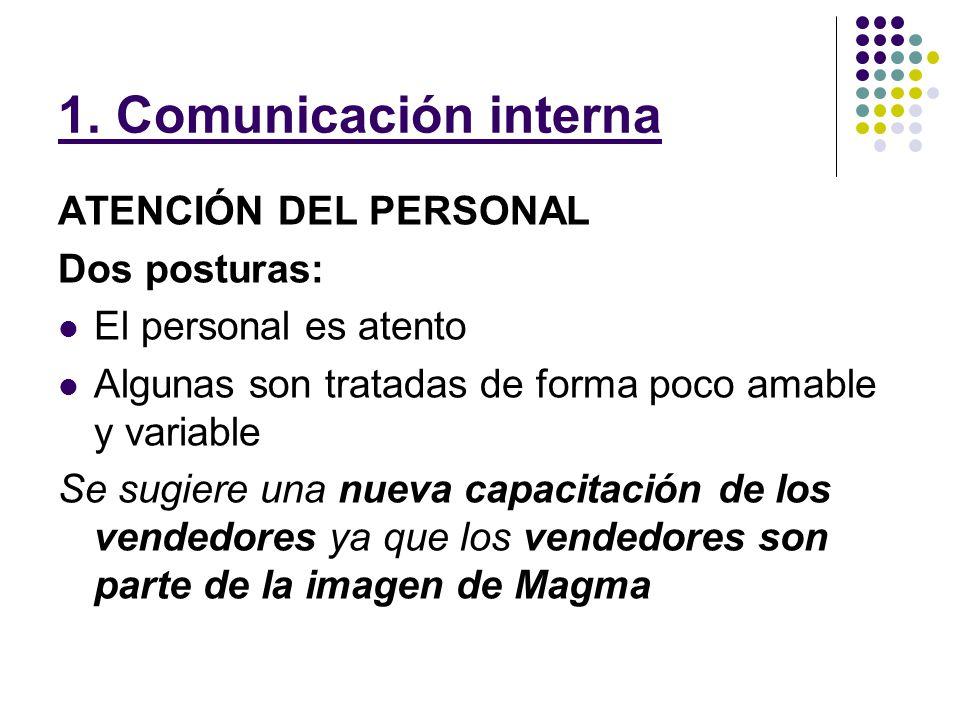 1. Comunicación interna ATENCIÓN DEL PERSONAL Dos posturas: El personal es atento Algunas son tratadas de forma poco amable y variable Se sugiere una