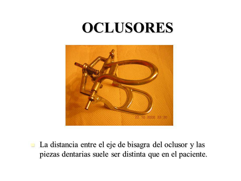 OCLUSORES La distancia entre el eje de bisagra del oclusor y las piezas dentarias suele ser distinta que en el paciente. La distancia entre el eje de
