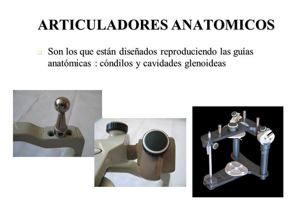 ARTICULADORES ANATOMICOS Son los que están diseñados reproduciendo las guías anatómicas : cóndilos y cavidades glenoideas Son los que están diseñados