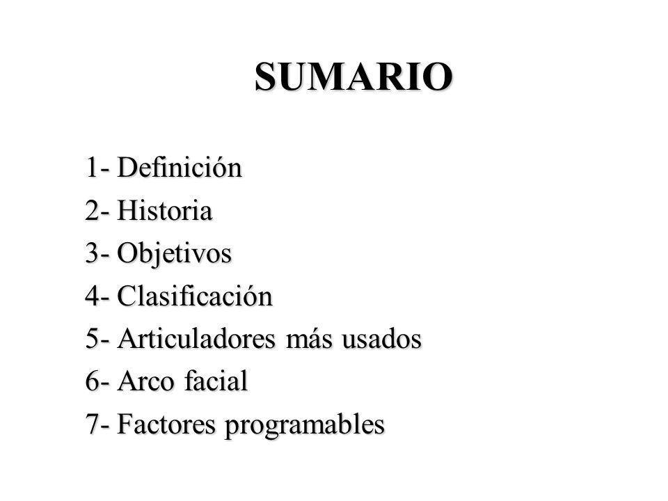 SUMARIO 1- Definición 2- Historia 3- Objetivos 4- Clasificación 5- Articuladores más usados 6- Arco facial 7- Factores programables
