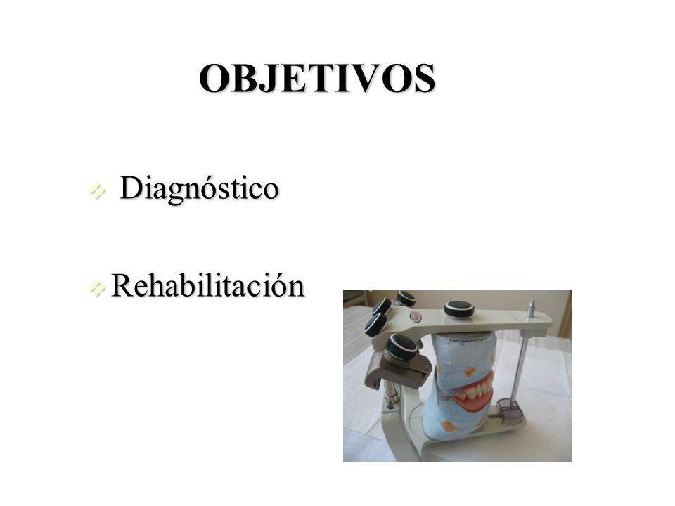 OBJETIVOS Diagnóstico Diagnóstico Rehabilitación Rehabilitación