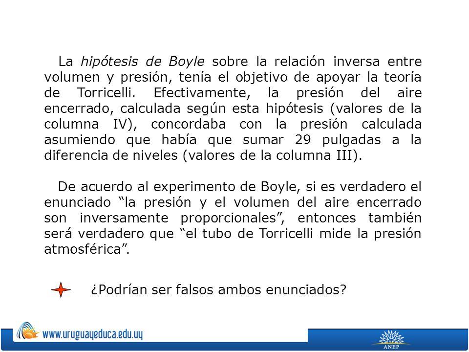 La hipótesis de Boyle sobre la relación inversa entre volumen y presión, tenía el objetivo de apoyar la teoría de Torricelli.