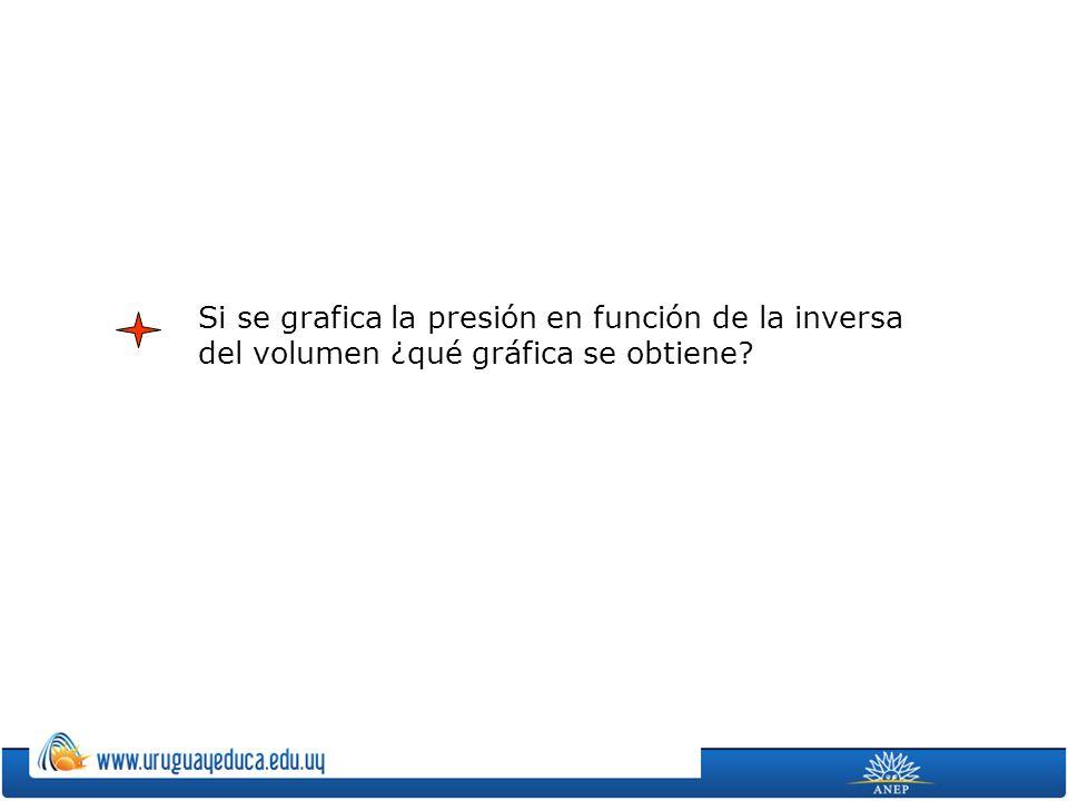 Si se grafica la presión en función de la inversa del volumen ¿qué gráfica se obtiene?