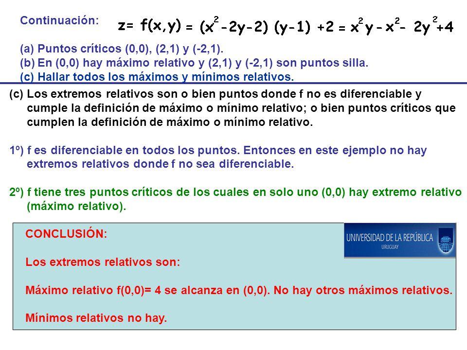 Continuación: (a)Puntos críticos (0,0), (2,1) y (-2,1). (b)En (0,0) hay máximo relativo y (2,1) y (-2,1) son puntos silla. (c) Hallar todos los máximo
