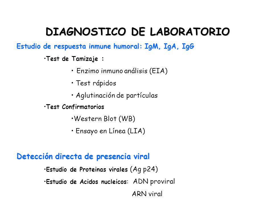 DIAGNOSTICO DE LABORATORIO Estudio de respuesta inmune humoral: IgM, IgA, IgG Test de Tamizaje : Enzimo inmuno análisis (EIA) Test rápidos Aglutinació