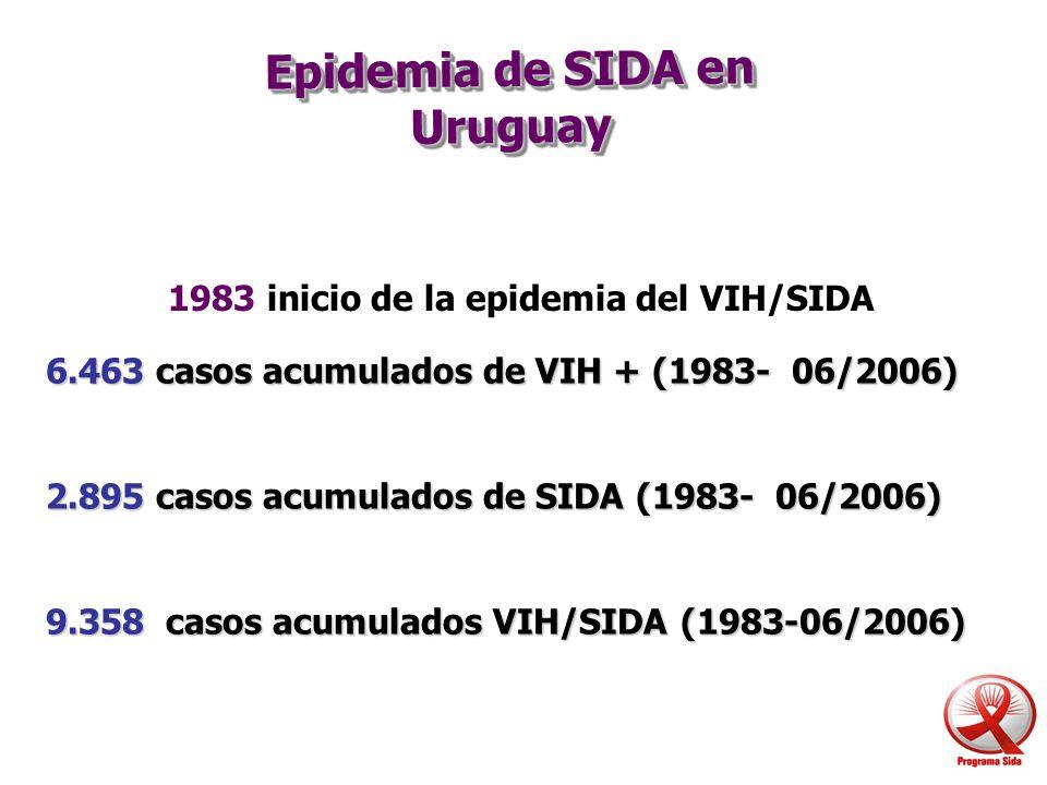 Epidemia de SIDA en Uruguay 6.463 casos acumulados de VIH + (1983- 06/2006) 2.895 casos acumulados de SIDA (1983- 06/2006) 9.358 casos acumulados VIH/
