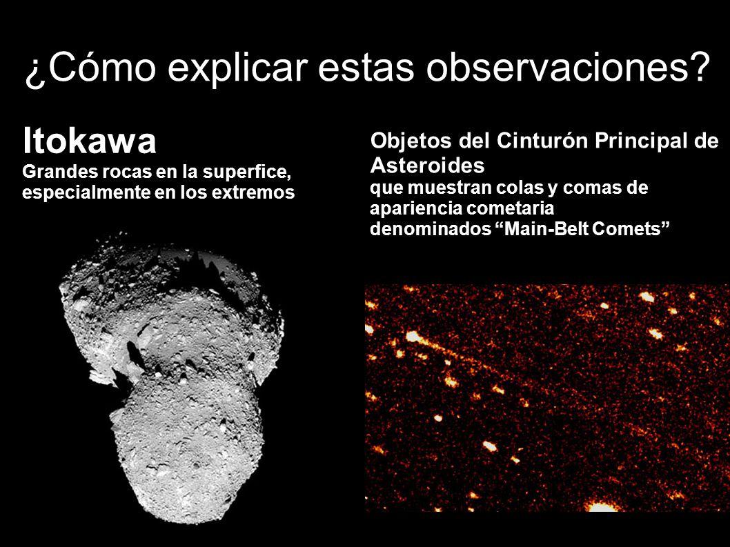 ¿Cómo explicar estas observaciones? Itokawa Grandes rocas en la superfice, especialmente en los extremos Objetos del Cinturón Principal de Asteroides