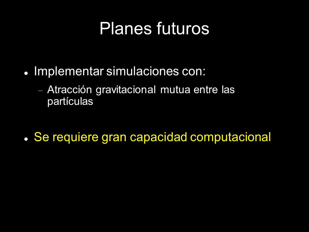 Planes futuros Implementar simulaciones con: Atracción gravitacional mutua entre las partículas Se requiere gran capacidad computacional