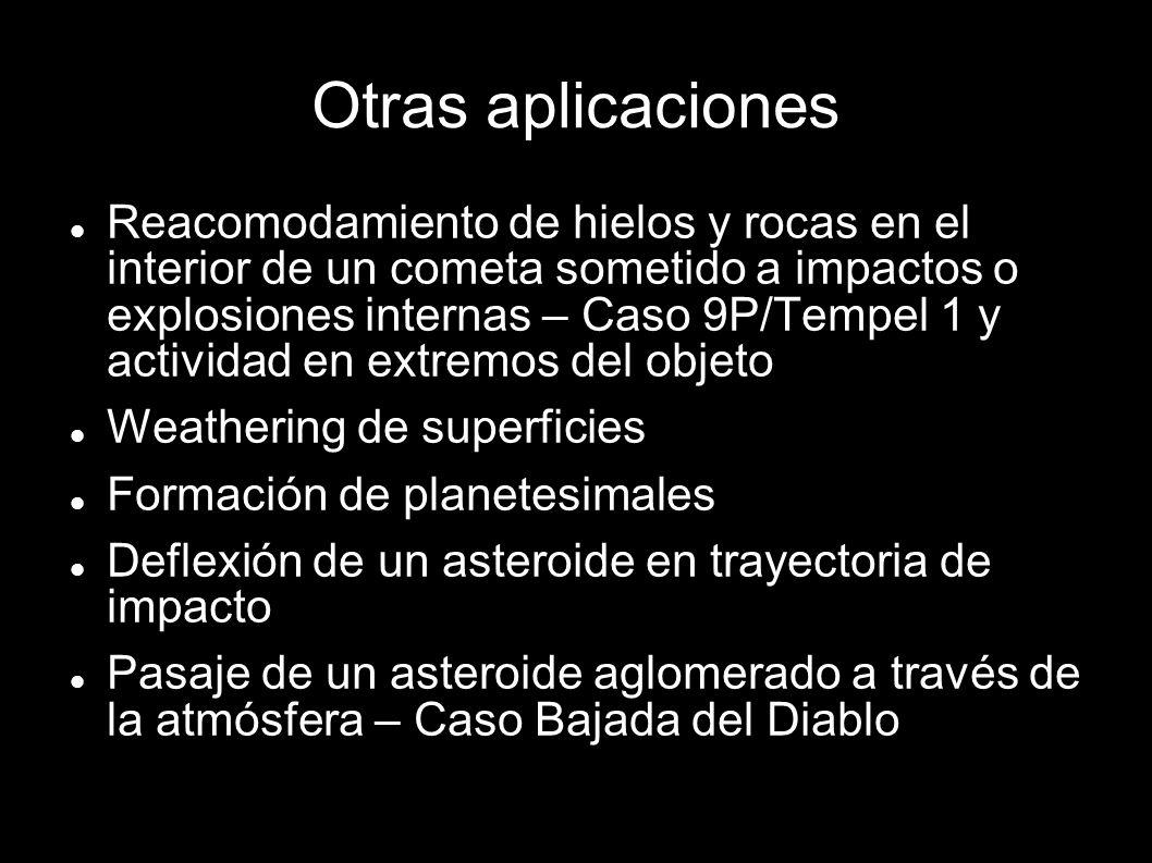 Otras aplicaciones Reacomodamiento de hielos y rocas en el interior de un cometa sometido a impactos o explosiones internas – Caso 9P/Tempel 1 y activ