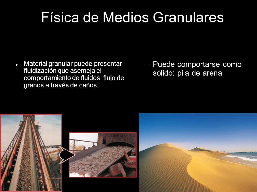 Física de Medios Granulares Material granular puede presentar fluidización que asemeja el comportamiento de fluidos: flujo de granos a través de caños