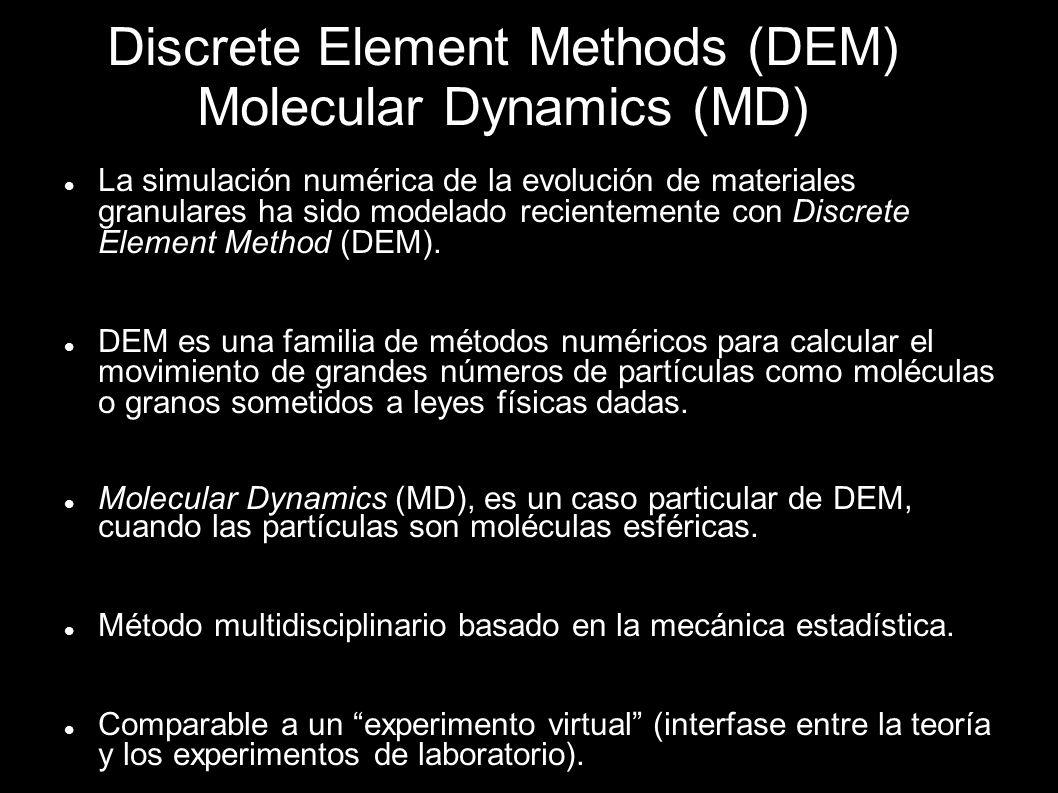 Discrete Element Methods (DEM) Molecular Dynamics (MD) La simulación numérica de la evolución de materiales granulares ha sido modelado recientemente