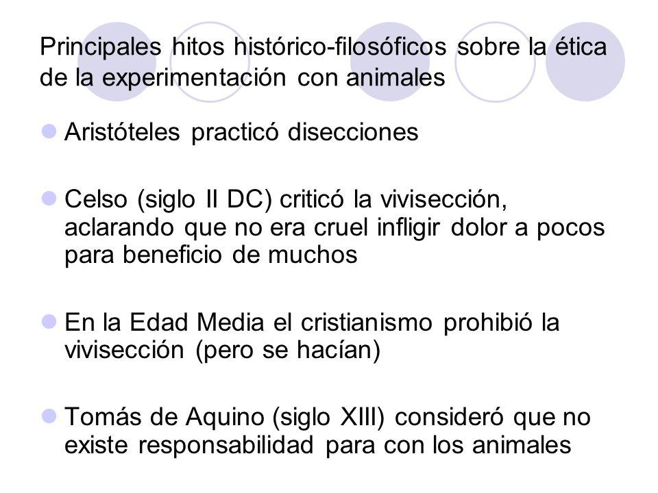Principales hitos histórico-filosóficos sobre la ética de la experimentación con animales Aristóteles practicó disecciones Celso (siglo II DC) criticó