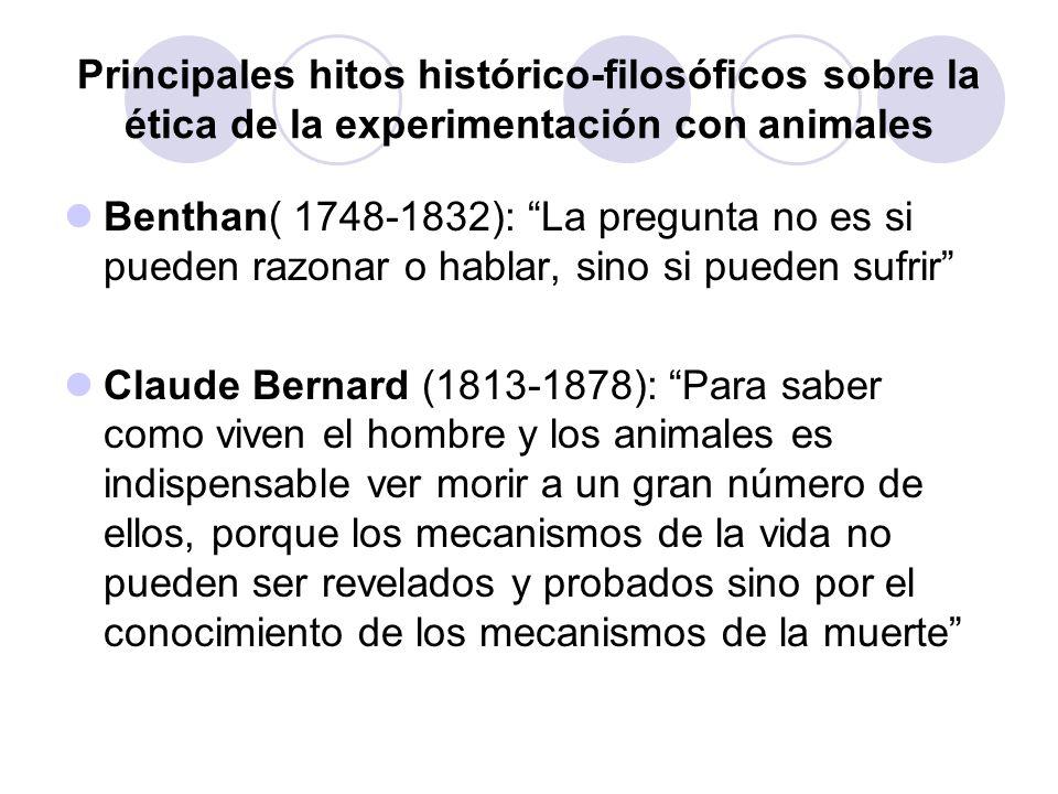 Principales hitos histórico-filosóficos sobre la ética de la experimentación con animales Benthan( 1748-1832): La pregunta no es si pueden razonar o h
