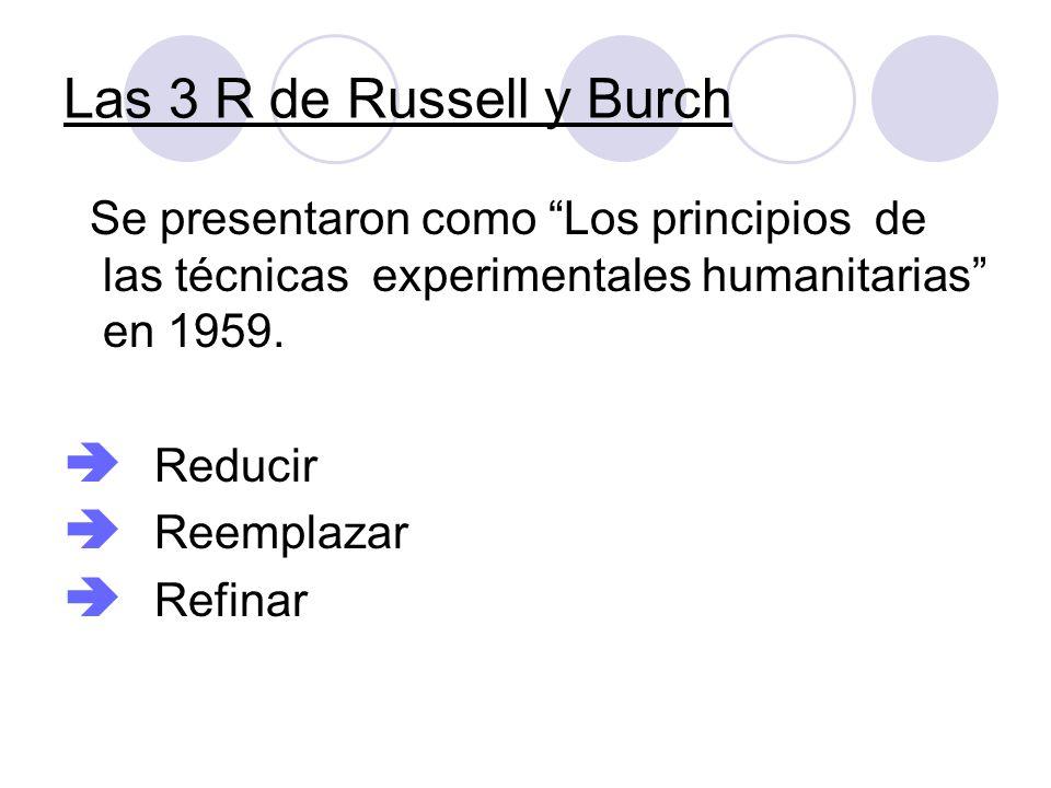 Las 3 R de Russell y Burch Se presentaron como Los principios de las técnicas experimentales humanitarias en 1959. Reducir Reemplazar Refinar