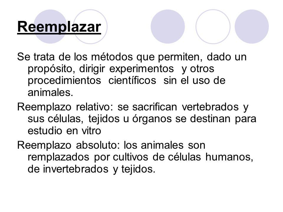 Reemplazar Se trata de los métodos que permiten, dado un propósito, dirigir experimentos y otros procedimientos científicos sin el uso de animales. Re