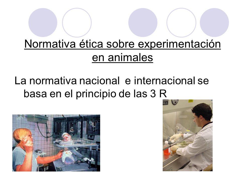 Normativa ética sobre experimentación en animales La normativa nacional e internacional se basa en el principio de las 3 R