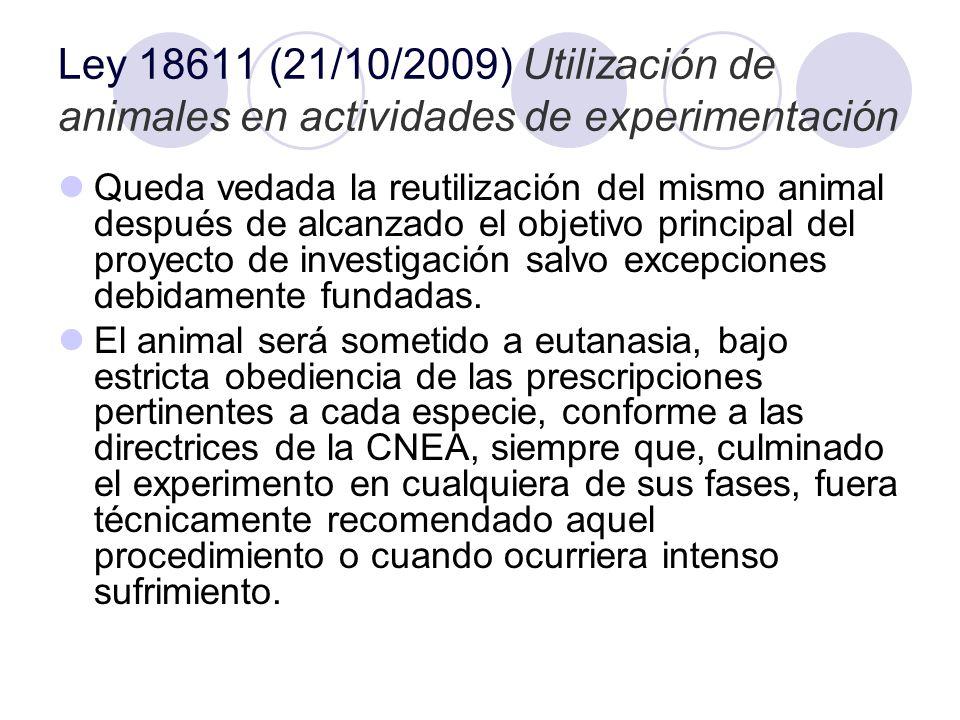 Ley 18611 (21/10/2009) Utilización de animales en actividades de experimentación Queda vedada la reutilización del mismo animal después de alcanzado e