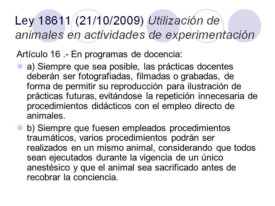 Artículo 16.- En programas de docencia: a) Siempre que sea posible, las prácticas docentes deberán ser fotografiadas, filmadas o grabadas, de forma de