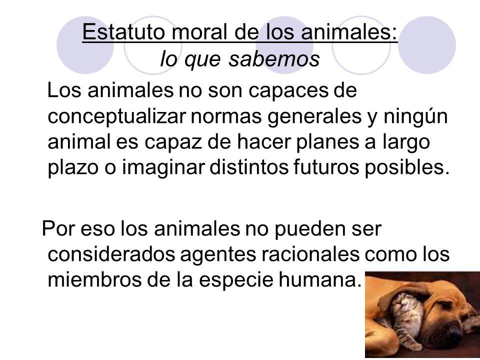 Estatuto moral de los animales: lo que sabemos Los animales no son capaces de conceptualizar normas generales y ningún animal es capaz de hacer planes