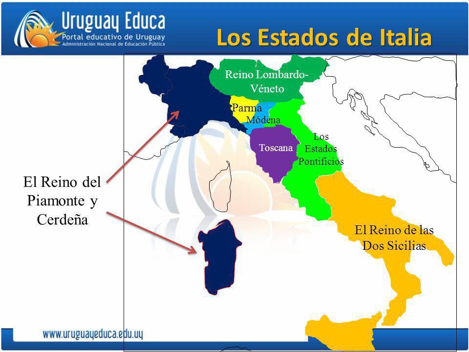 Los Estados de Italia El Reino del Piamonte y Cerdeña Reino Lombardo- Véneto Parma Módena Toscana Los Estados Pontificios El Reino de las Dos Sicilias
