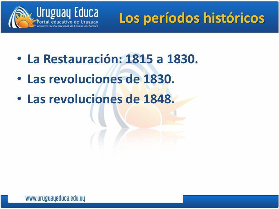 Los períodos históricos La Restauración: 1815 a 1830.