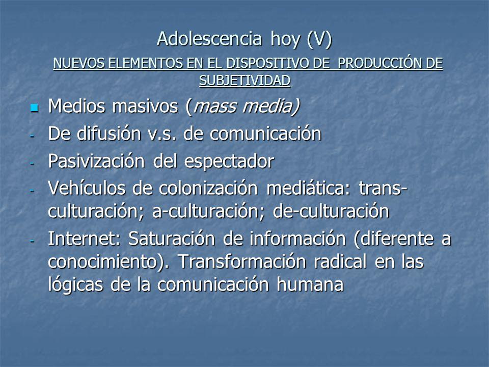 Adolescencia hoy (V) NUEVOS ELEMENTOS EN EL DISPOSITIVO DE PRODUCCIÓN DE SUBJETIVIDAD Medios masivos (mass media) Medios masivos (mass media) - De dif