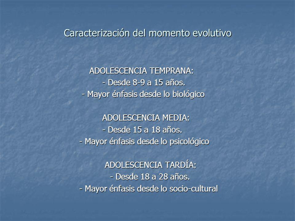 Caracterización del momento evolutivo ADOLESCENCIA TEMPRANA: ADOLESCENCIA TEMPRANA: - Desde 8-9 a 15 años. - Desde 8-9 a 15 años. - Mayor énfasis desd