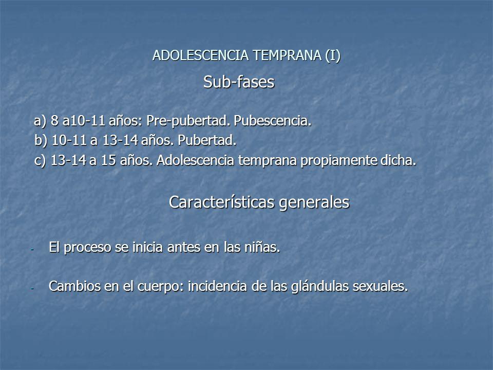 ADOLESCENCIA TEMPRANA (I) Sub-fases Sub-fases a) 8 a10-11 años: Pre-pubertad. Pubescencia. a) 8 a10-11 años: Pre-pubertad. Pubescencia. b) 10-11 a 13-