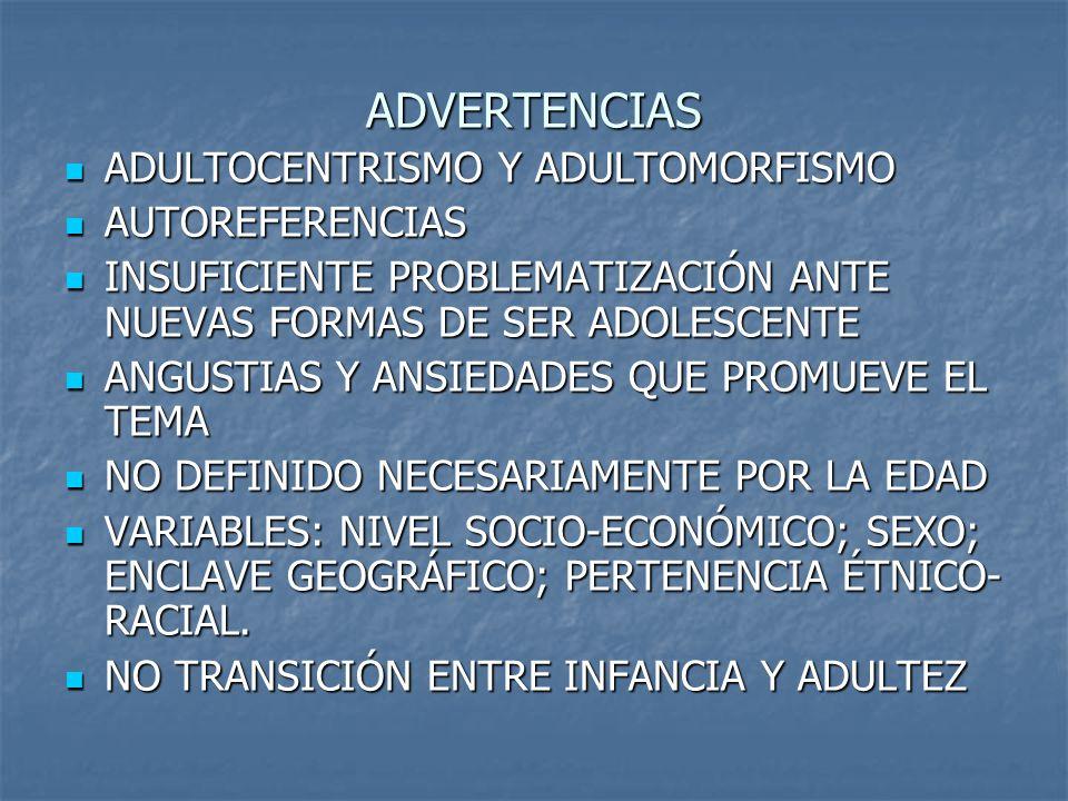 ADVERTENCIAS ADULTOCENTRISMO Y ADULTOMORFISMO ADULTOCENTRISMO Y ADULTOMORFISMO AUTOREFERENCIAS AUTOREFERENCIAS INSUFICIENTE PROBLEMATIZACIÓN ANTE NUEV