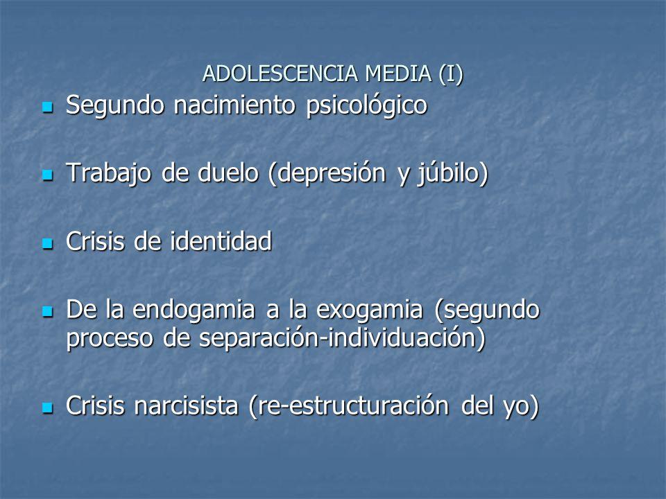 ADOLESCENCIA MEDIA (I) Segundo nacimiento psicológico Segundo nacimiento psicológico Trabajo de duelo (depresión y júbilo) Trabajo de duelo (depresión