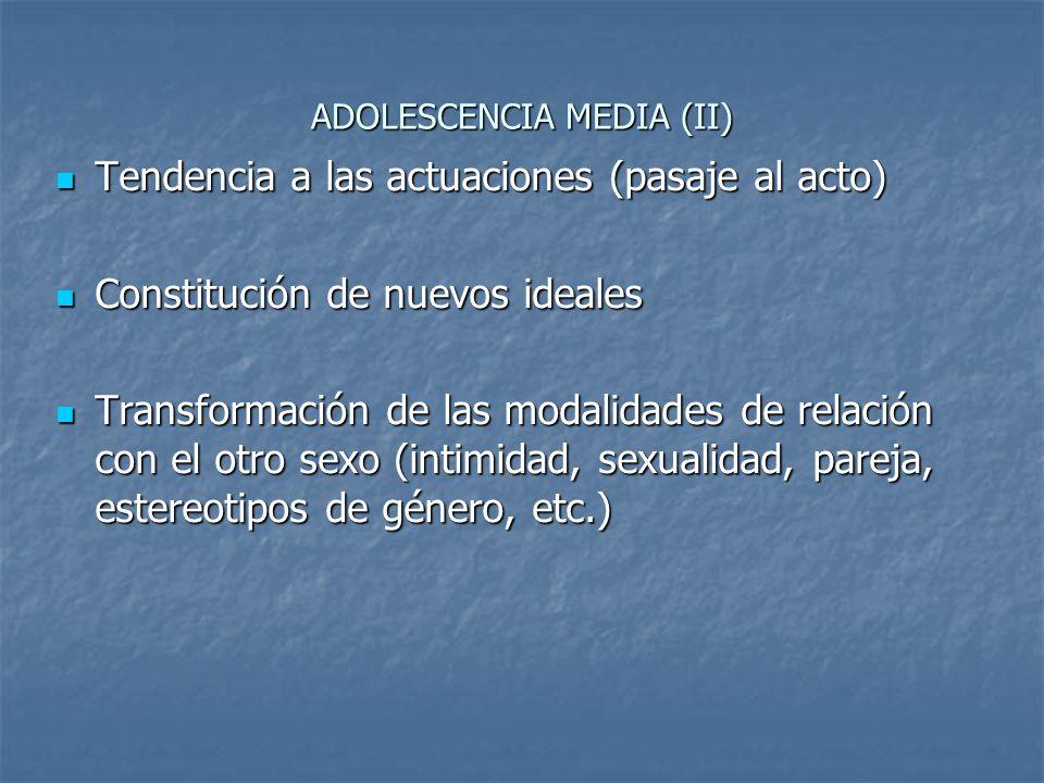 ADOLESCENCIA MEDIA (II) Tendencia a las actuaciones (pasaje al acto) Tendencia a las actuaciones (pasaje al acto) Constitución de nuevos ideales Const
