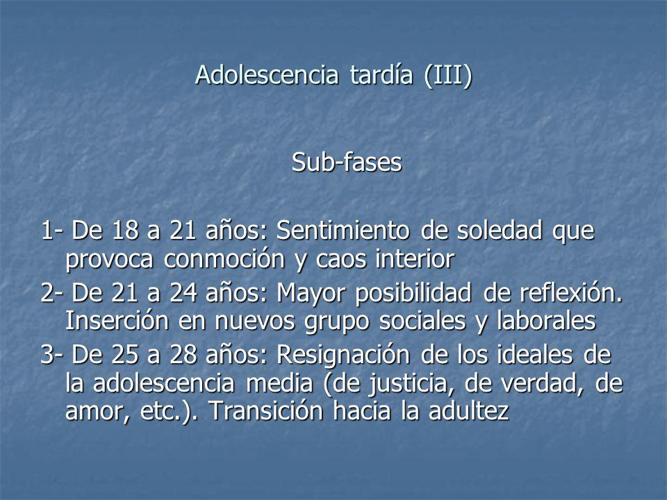 Adolescencia tardía (III) Sub-fases Sub-fases 1- De 18 a 21 años: Sentimiento de soledad que provoca conmoción y caos interior 2- De 21 a 24 años: May