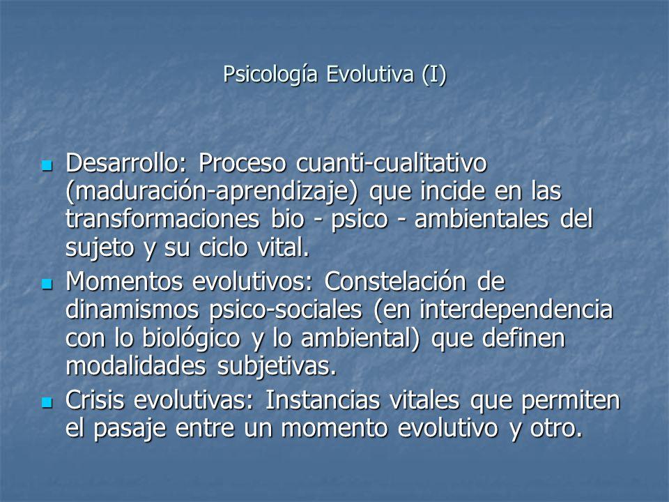 Psicología Evolutiva (I) Desarrollo: Proceso cuanti-cualitativo (maduración-aprendizaje) que incide en las transformaciones bio - psico - ambientales
