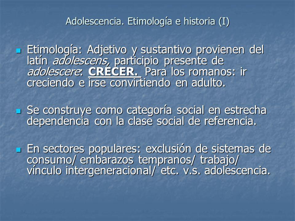 Adolescencia. Etimología e historia (I) Etimología: Adjetivo y sustantivo provienen del latín adolescens, participio presente de adolescere: CRECER. P