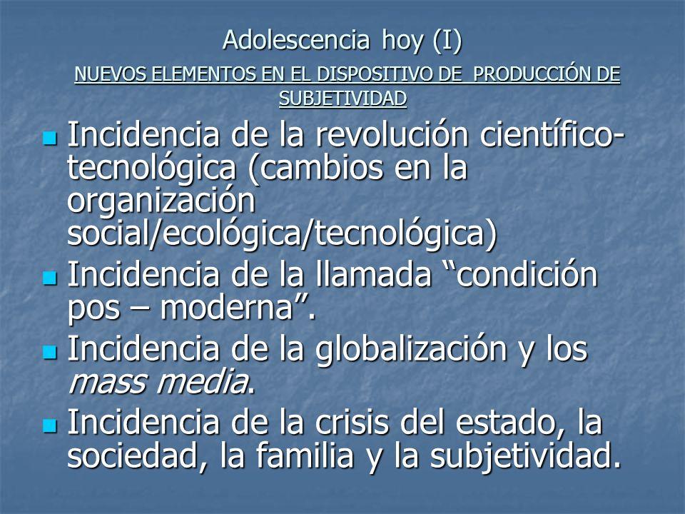 Adolescencia hoy (I) NUEVOS ELEMENTOS EN EL DISPOSITIVO DE PRODUCCIÓN DE SUBJETIVIDAD Incidencia de la revolución científico- tecnológica (cambios en