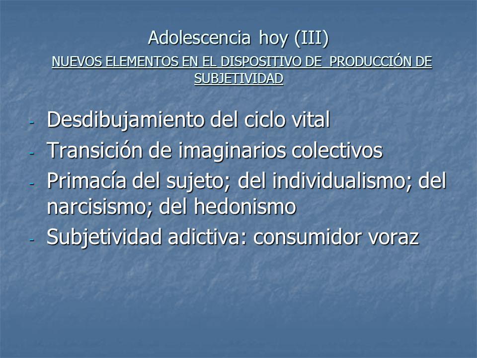 Adolescencia hoy (III) NUEVOS ELEMENTOS EN EL DISPOSITIVO DE PRODUCCIÓN DE SUBJETIVIDAD - Desdibujamiento del ciclo vital - Transición de imaginarios