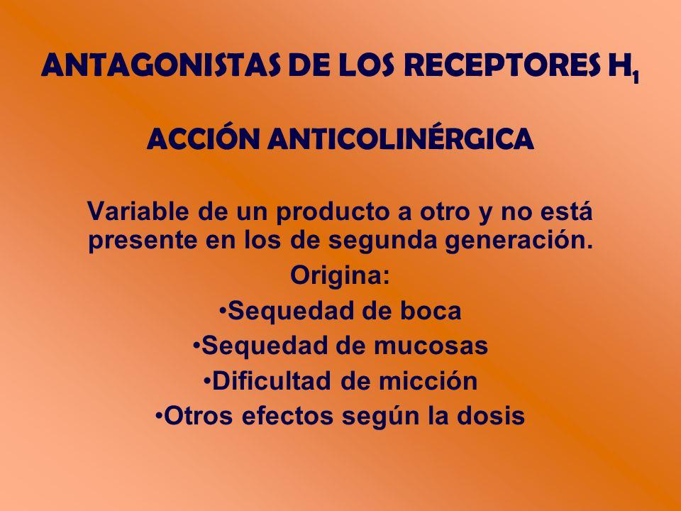 ANTAGONISTAS DE LOS RECEPTORES H 1 ACCIÓN ANTICOLINÉRGICA Variable de un producto a otro y no está presente en los de segunda generación.