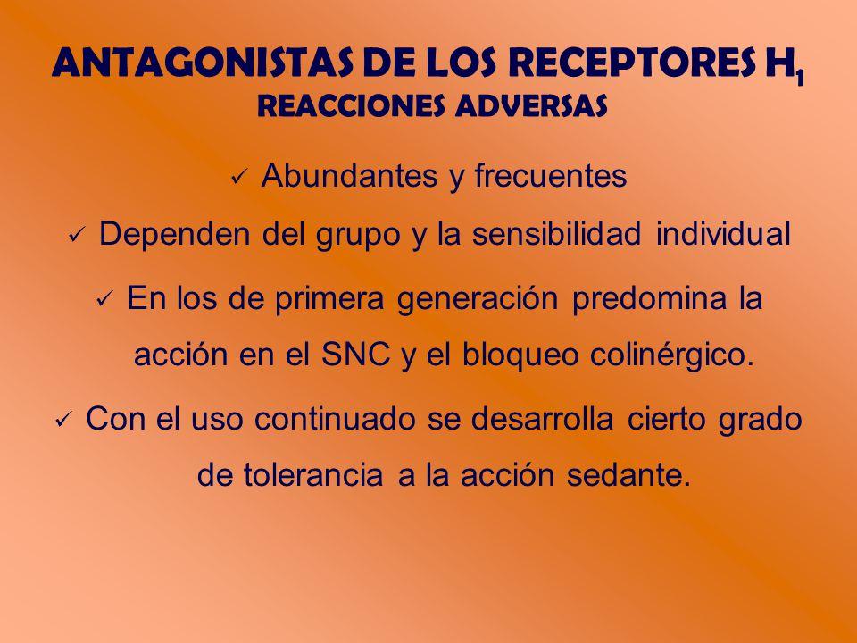 ANTAGONISTAS DE LOS RECEPTORES H 1 REACCIONES ADVERSAS Abundantes y frecuentes Dependen del grupo y la sensibilidad individual En los de primera generación predomina la acción en el SNC y el bloqueo colinérgico.