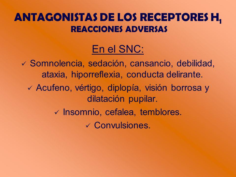 ANTAGONISTAS DE LOS RECEPTORES H 1 REACCIONES ADVERSAS En el SNC: Somnolencia, sedación, cansancio, debilidad, ataxia, hiporreflexia, conducta delirante.