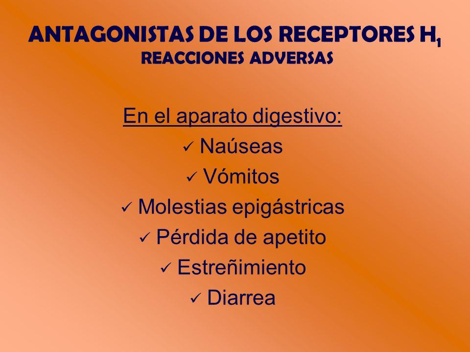 ANTAGONISTAS DE LOS RECEPTORES H 1 REACCIONES ADVERSAS En el aparato digestivo: Naúseas Vómitos Molestias epigástricas Pérdida de apetito Estreñimiento Diarrea