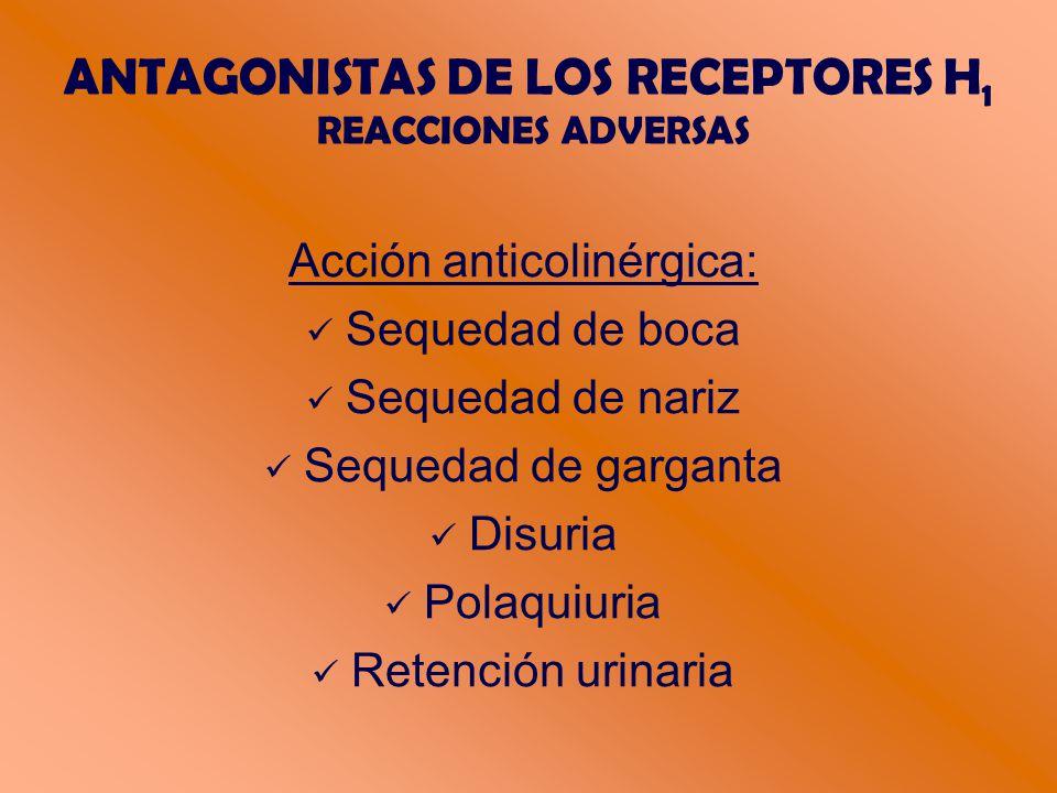 ANTAGONISTAS DE LOS RECEPTORES H 1 REACCIONES ADVERSAS Acción anticolinérgica: Sequedad de boca Sequedad de nariz Sequedad de garganta Disuria Polaquiuria Retención urinaria