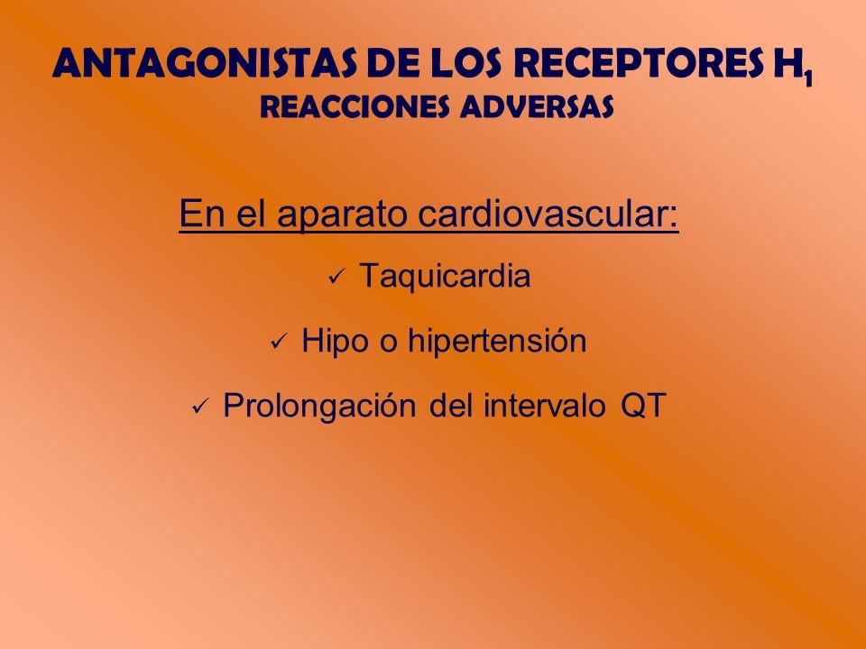 ANTAGONISTAS DE LOS RECEPTORES H 1 REACCIONES ADVERSAS En el aparato cardiovascular: Taquicardia Hipo o hipertensión Prolongación del intervalo QT