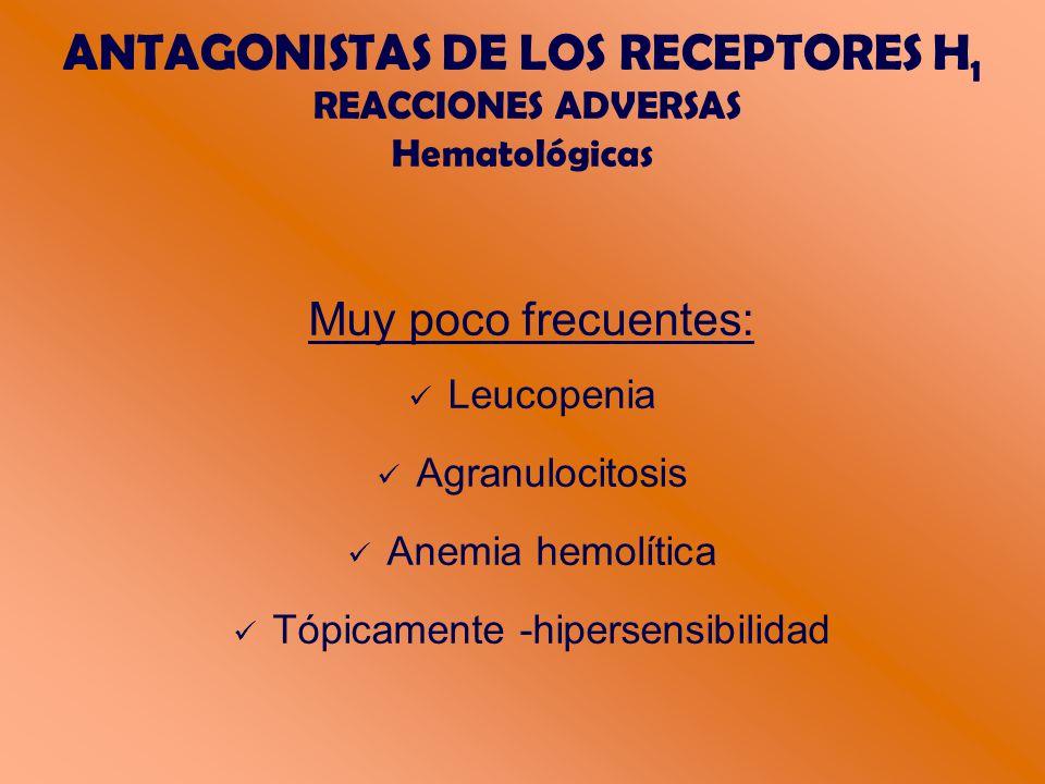 ANTAGONISTAS DE LOS RECEPTORES H 1 REACCIONES ADVERSAS Hematológicas Muy poco frecuentes: Leucopenia Agranulocitosis Anemia hemolítica Tópicamente -hipersensibilidad